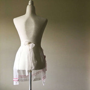 Vintage 1940s Sheer Half Apron - Red and White Poinsettia Flowers - 100% Nylon - Holiday HostessStyle