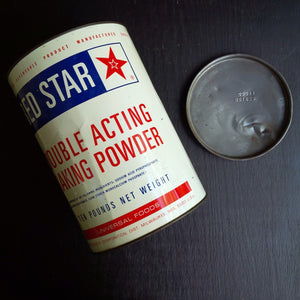 Vintage Red Star Baking Powder Tin - 10lbs - 1960's Universal Foods Container