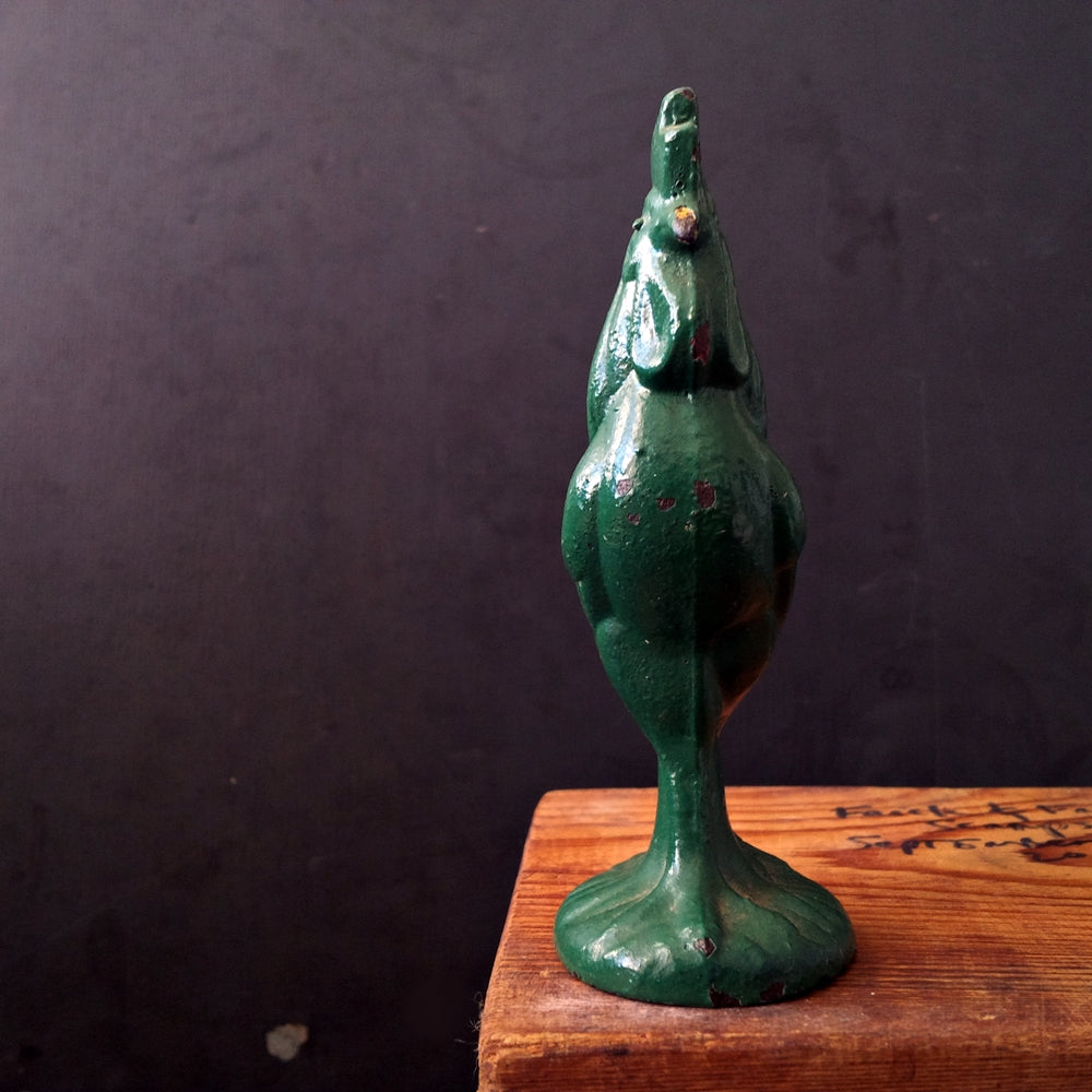 Miniature Cast Iron Rooster - Vintage Green -- Chippy Kitchen Decor