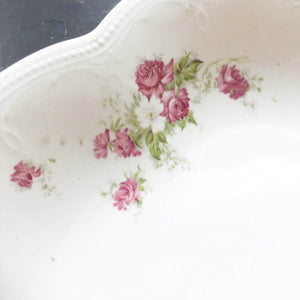 Antique Iris E.P.P.Co Pink Floral & Gold Ironstone Platter- East Palestine Pottery Company - Iris Shape circa 1890s