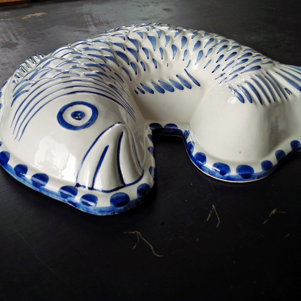 Blue and White Ceramic Fish Mold - Made In Italy - ABC Bassano {RESERVED FOR DAVID}