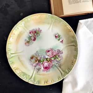 Large Antique Royal Bonn Rose Plate circa 1885-1920 - Franz Anton Mehelm Bonn Rhein Germany