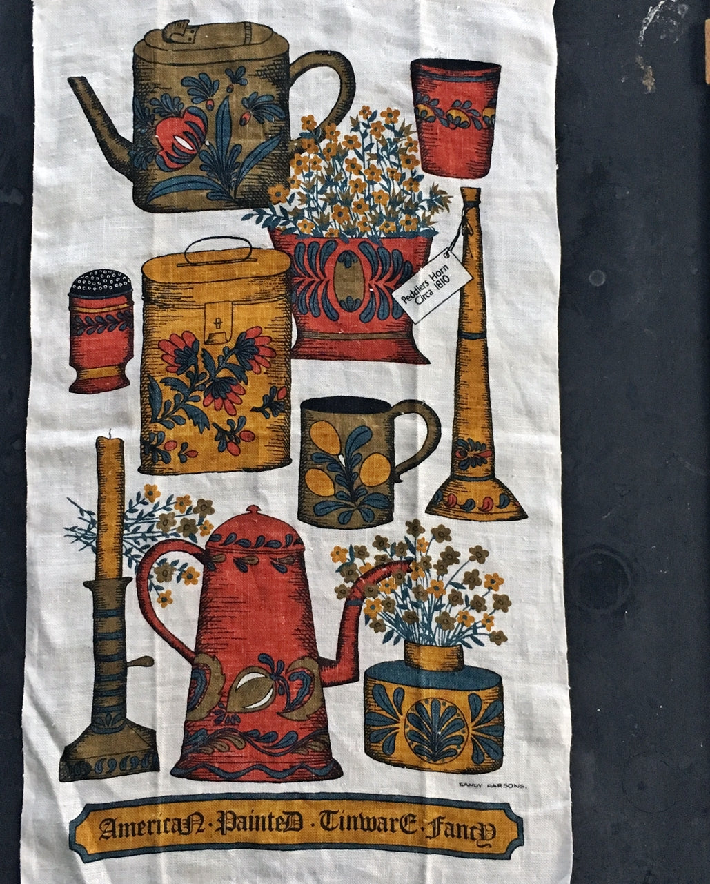Vintage 1960s Linen Tea Towel - Sandy Parsons for Kay Dee Designs - American Painted Tinware Fancy