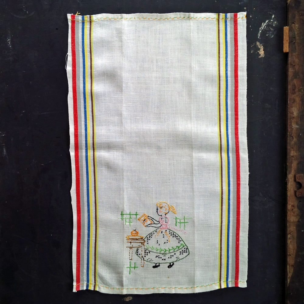 1940s Embroidered Linen Tea Towel - Day of the Week Design - Saturday Baking