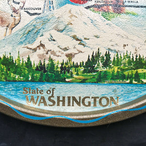 Vintage 1960's  Metal Serving Tray - State of Washington Travel Souvenir - Collectible Maps