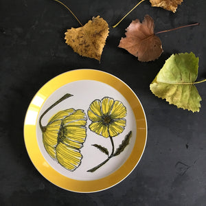 Vintage Mikasa Duplex Dinner Plate - Duet by Ben Seibel - 1970s Yellow Dinnerware