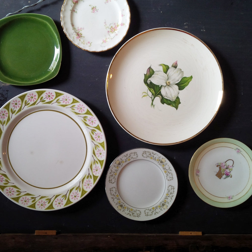 The Cottage Garden Collection - Mix & Match Vintage China Collection - Green Florals - Set of Six