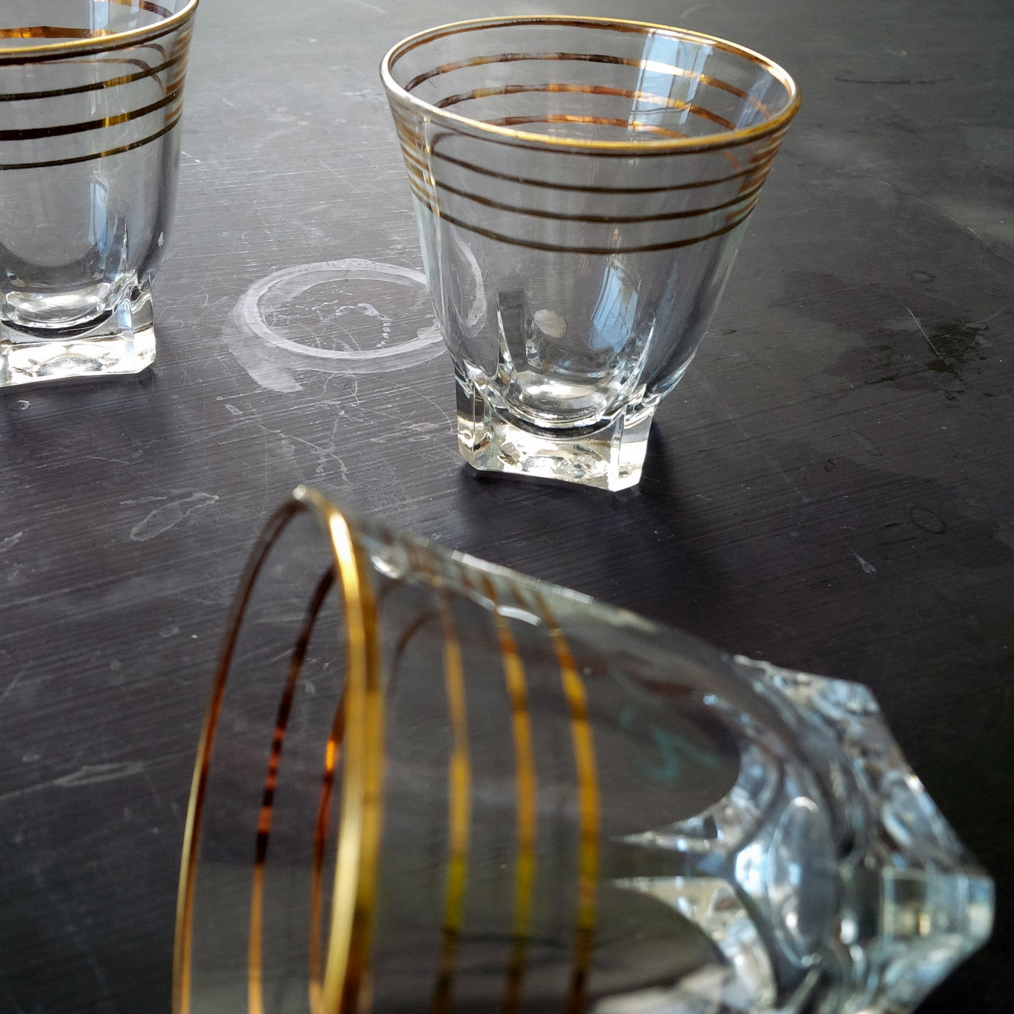 Vintage French Shot Glasses - Gold Stripes - Vintage Barware Made in France