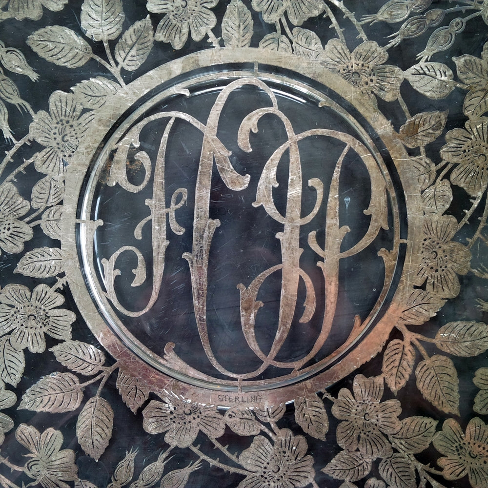 Rare Vintage Sterling Silver Overlay Glass Tray with Monogrammed Initials