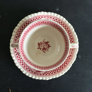 Antique W. Adams Ironstone Bouillon Soup Cup and Saucer - Old English Rural Scenes Circa 1920 - Red Transferware