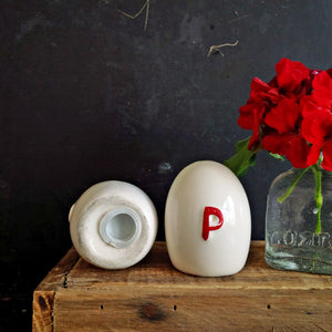 Vintage Egg-Shaped Red & White Salt & Pepper Shakers