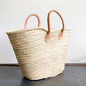 Handheld French Market Bag - Handwoven Palm Leaf Bag with Rolled Leather Handles