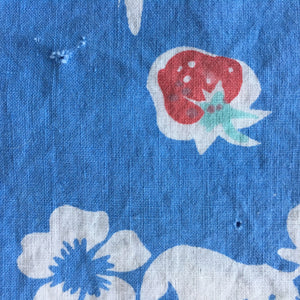 Vintage 1950's Cotton Tablecloth - Strawberry Floral - Red, Blue, Yellow & Mint Rectangle