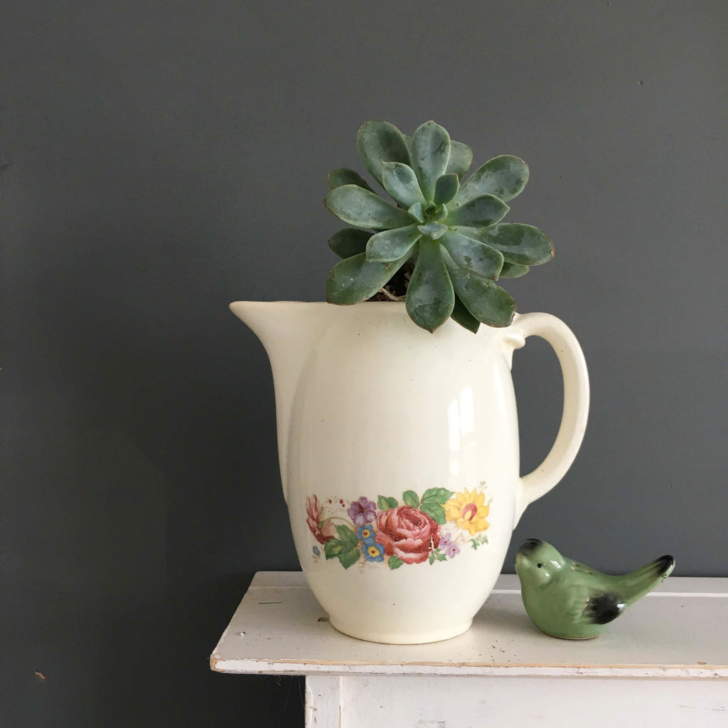 Taylor Smith Taylor Mini Coffeepot - 1940s Floral Container
