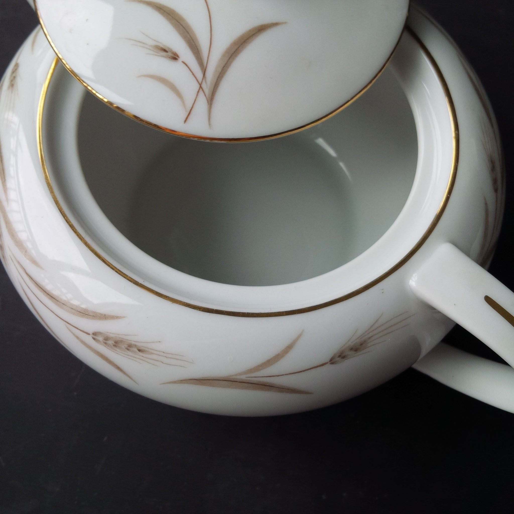 Vintage Sugar Bowl & Creamer Set - Wheat Pattern by Fine China of Japan