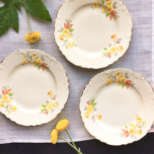Vintage 1940s Yellow Floral Bread and Butter Plates - Homer Laughlin Susan Pattern - Set of 3 circa 1948