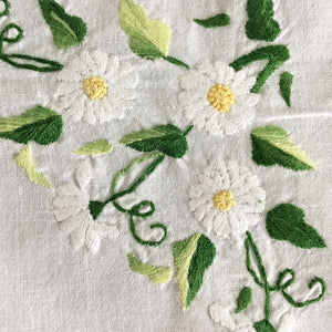 Vintage Embroidered Drawn Hemstitched Cotton Tablecloth - 35x36 - Daisy Flowers with Green Leaves