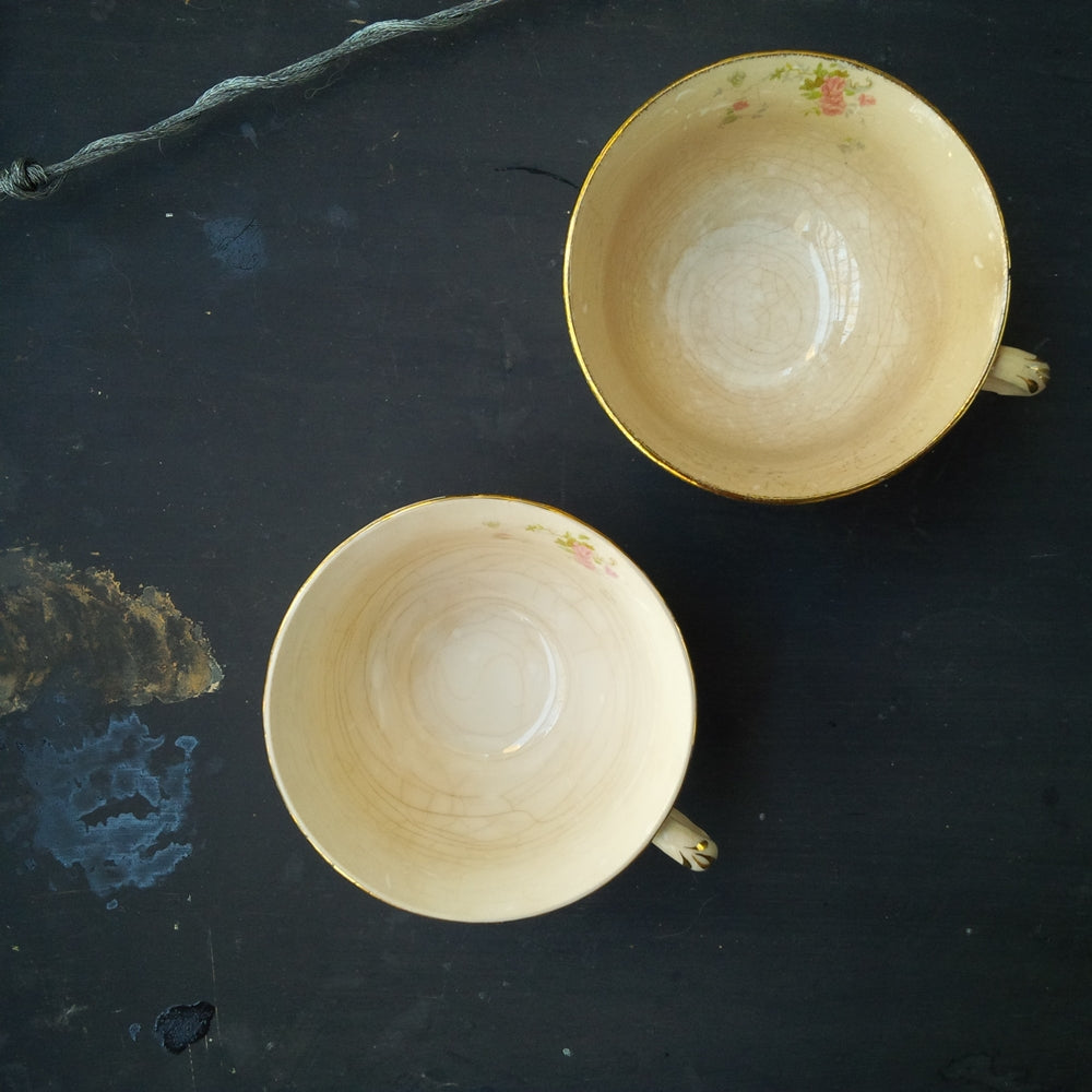 1940s Pope Gosser Tea Cups - Princess Pattern - Aged Patina - Set of Two