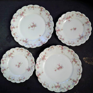 Antique Theodore Haviland Limoges France Dinner & Salad Plates - Circa Early 1900's - Set of 4