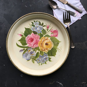 Vintage Round Tole  Metal Tray - Handpainted Rose and Iris Bouquet - Midcentury Folk Art