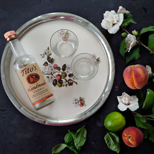 Revere Pewter and Porcelain Round Vintage Floral Tray - 1940s Cherry Branch Pattern with Felt Backing -