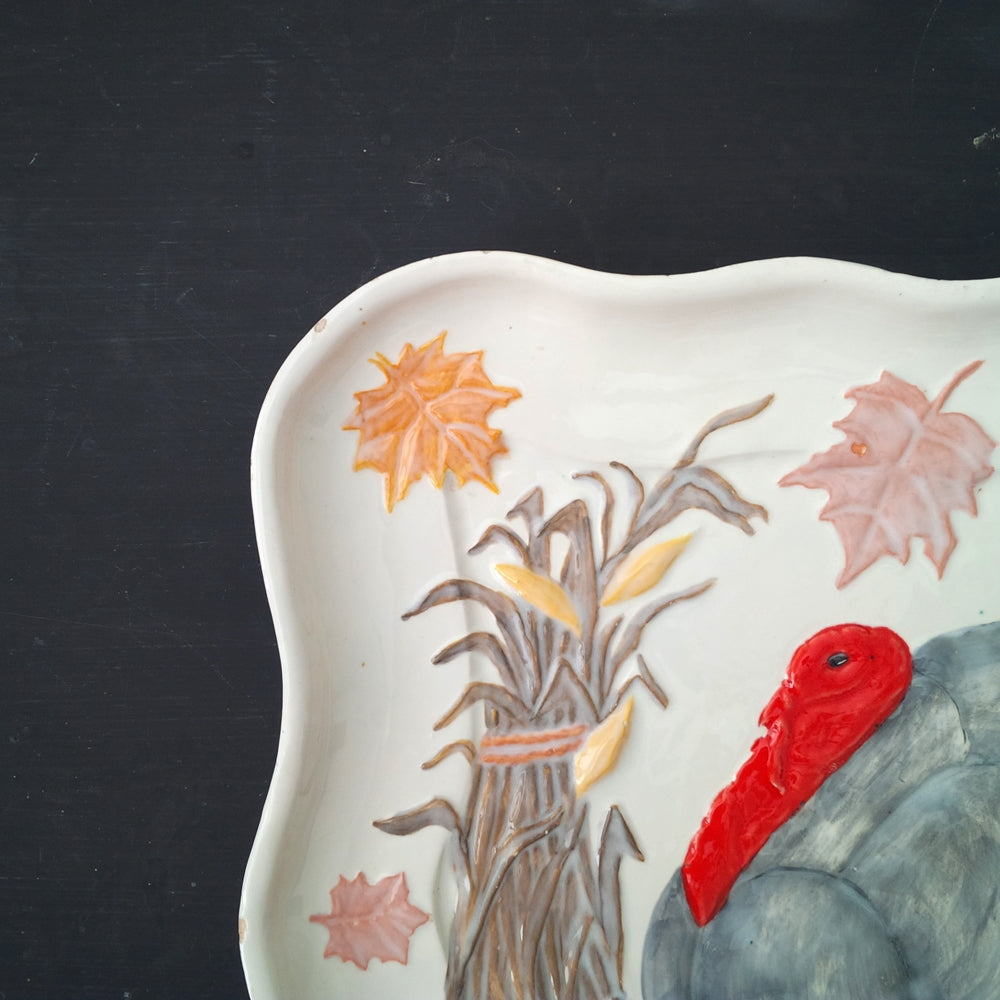 Vintage Hand-Painted Turkey Platter - 11x14 Unique Folk Art, Rare Pottery Mold, Bird Art