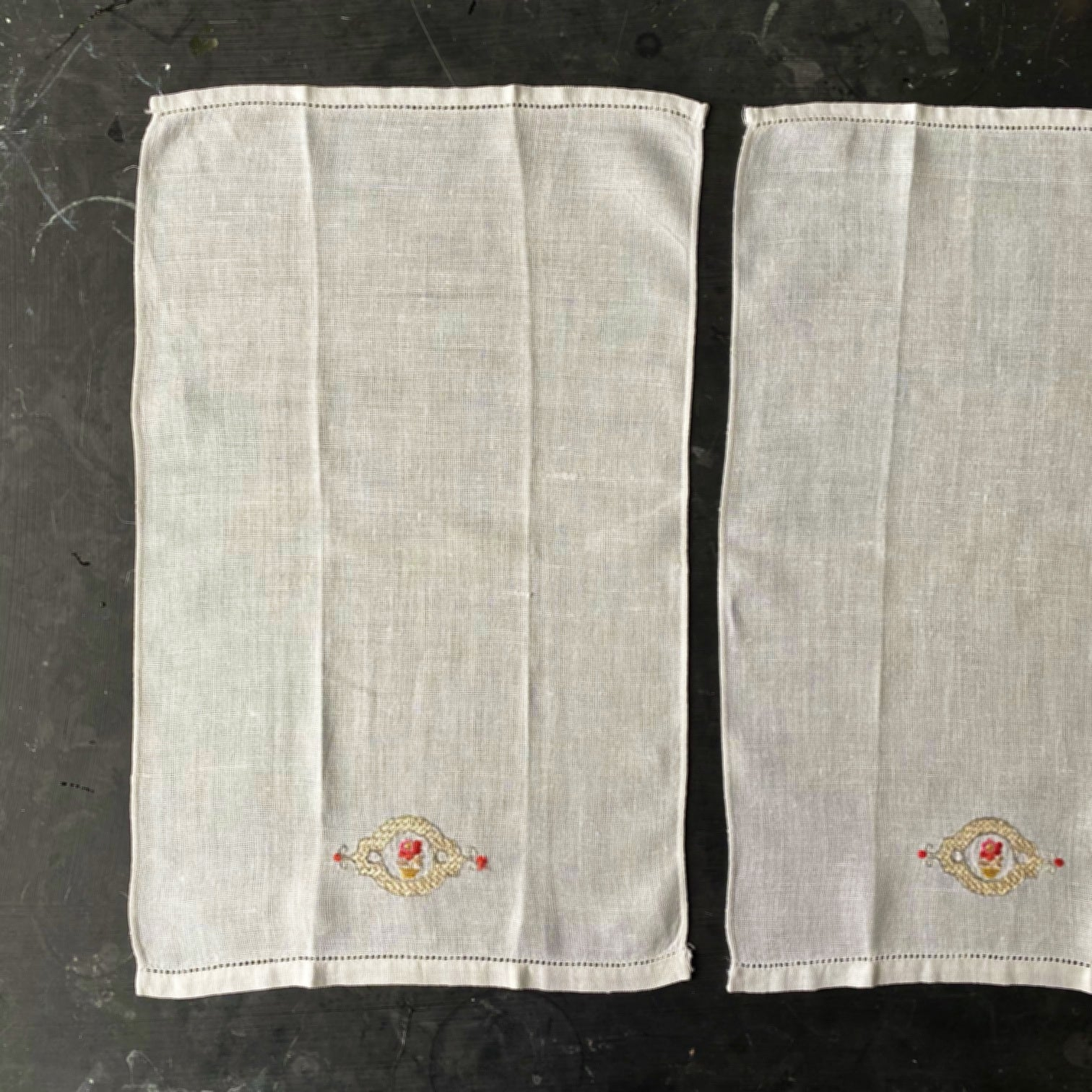 Vintage Embroidered Cocktail Napkins - Bar Cart Linens - Pink Rose in Flower Pot - Set of Two