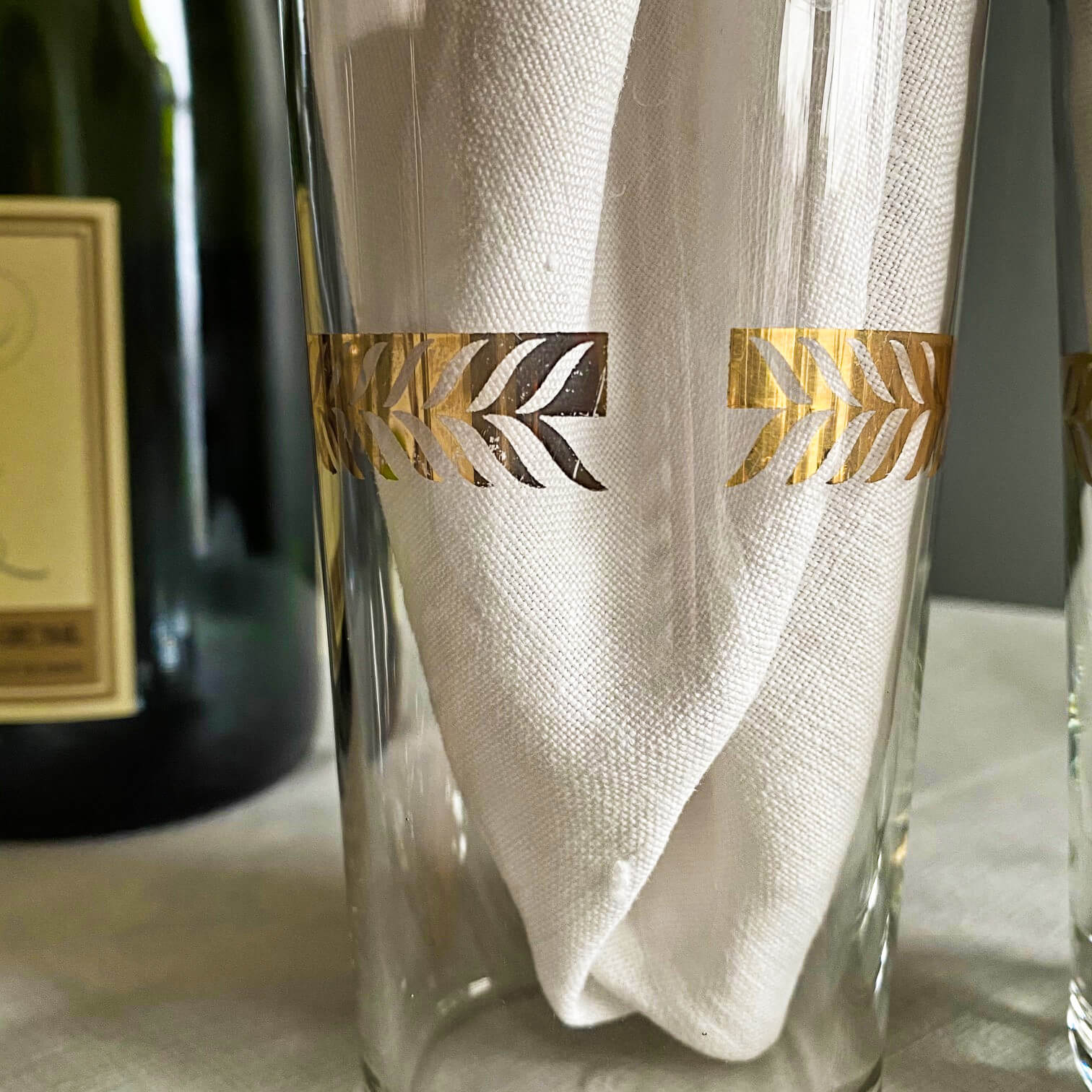Vintage 1940s Monogrammed Cocktail Glasses with Gold Lettering & Laurel Leaves -  Libbey Glass Co. c 1948