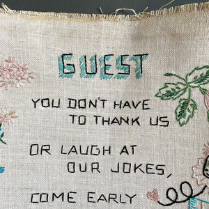 Rare Vintage Embroidery Guest Sign - Handstitched Embroidered Poem - Standing Invitation