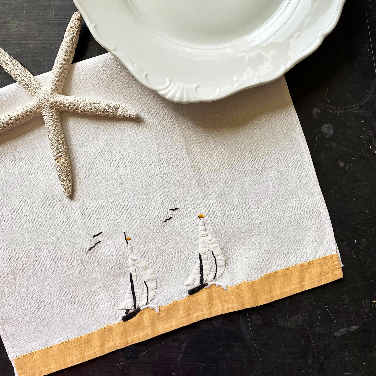 Vintage Embroidered Sailboat Applique Linen Kitchen Towels - Handstitched circa 1940s-1950s - Pair of Two 20x12