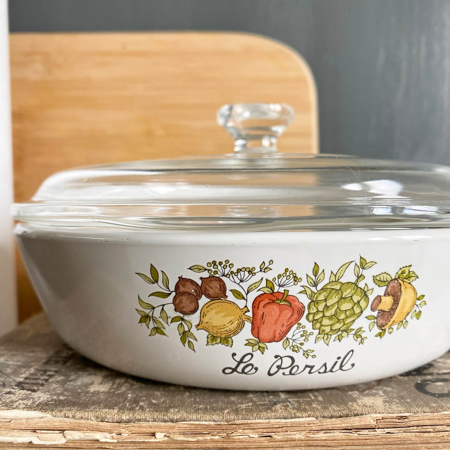 Vintage Corning Ware Spice of Life Covered Dish - 6 and 1/2 inch Skillet - Le Persil - P-83-B