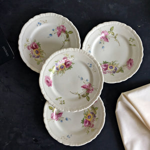 Vintage 1940s Floral Bread and Butter Plates - Warwick China Company USA - Set of 4