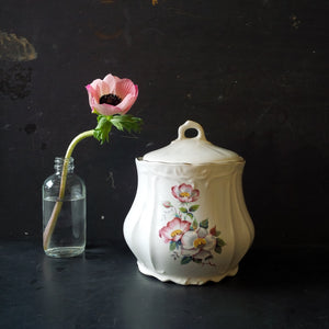 House of Webster Floral Canister - Vintage 1970s Briar Rose Kitchen Storage - Jelly Jar/Sugar Bin