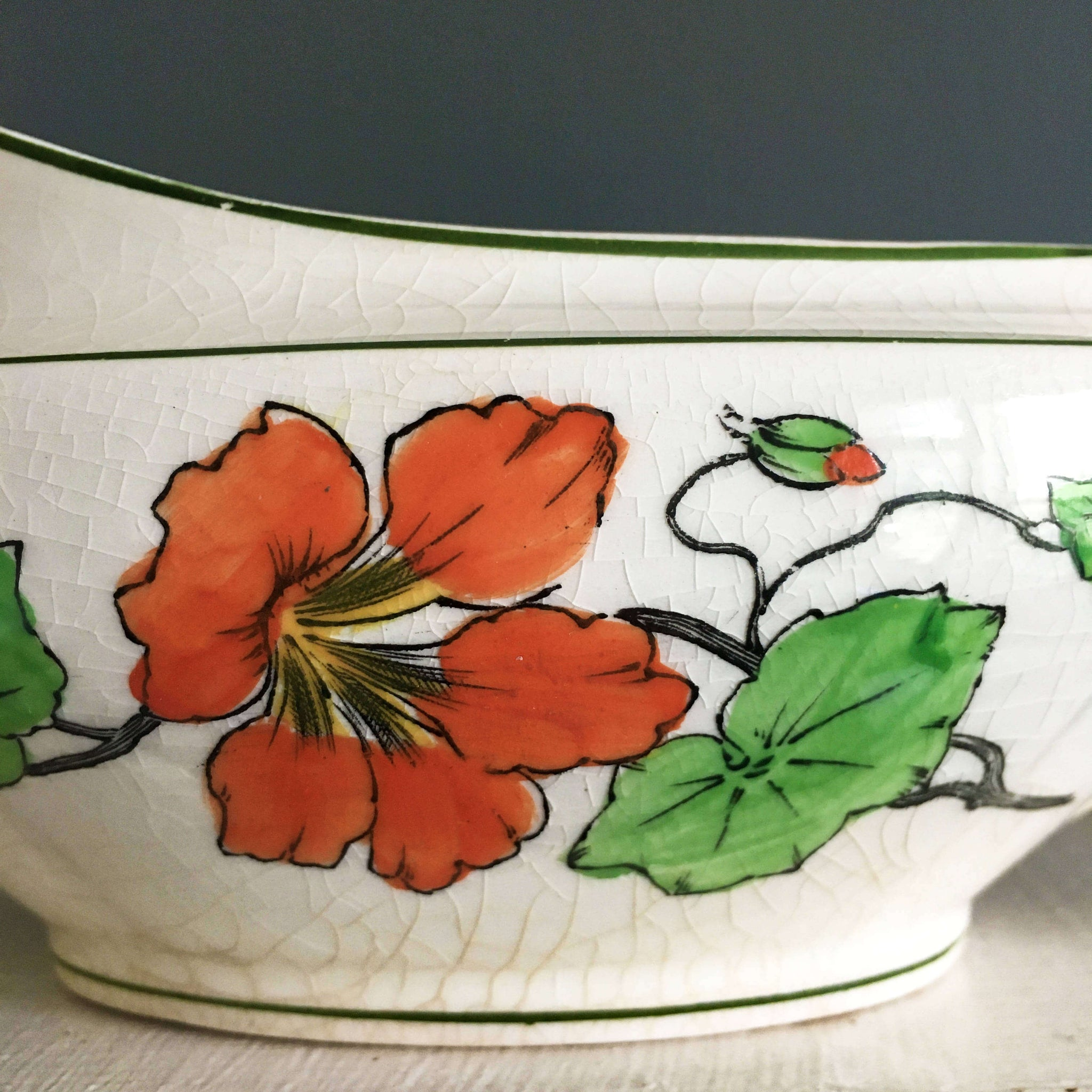 Vintage 1920's Gravy Boat - WH Grindley England Lichfield Pattern - Nasturtium Flowers Orange & Yellow