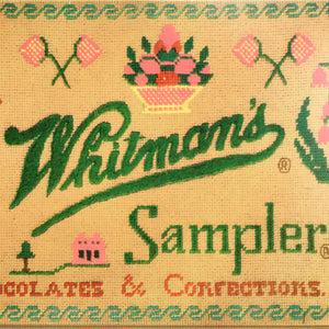 Vintage 1970's Whitman's Sampler Chocolate Tin Featuring Embroidery Sampler by Dorrit Gutterson