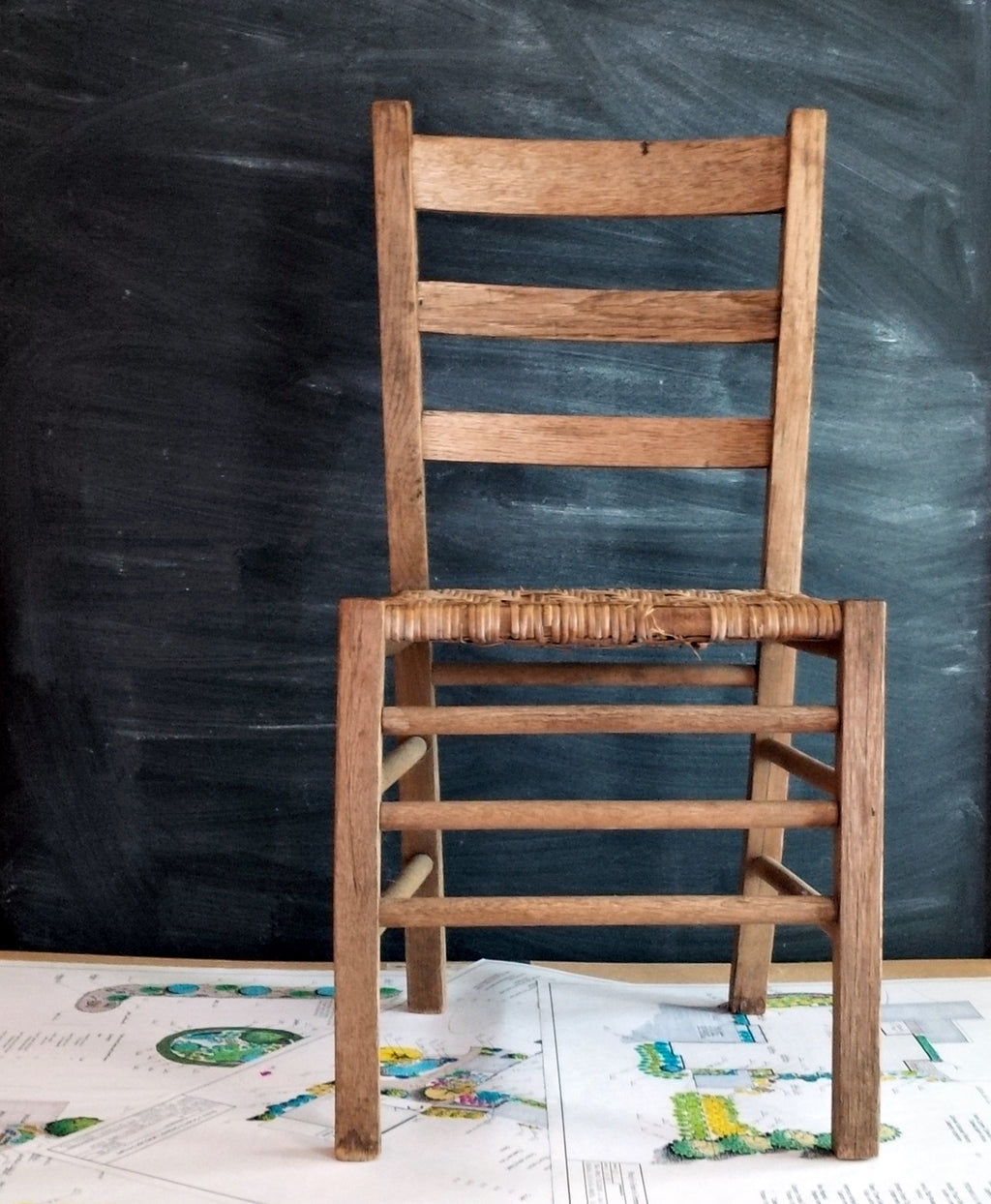 Antique Split Oak Chairs - Set of Two - Primitive Farmhouse, Weathered Wood