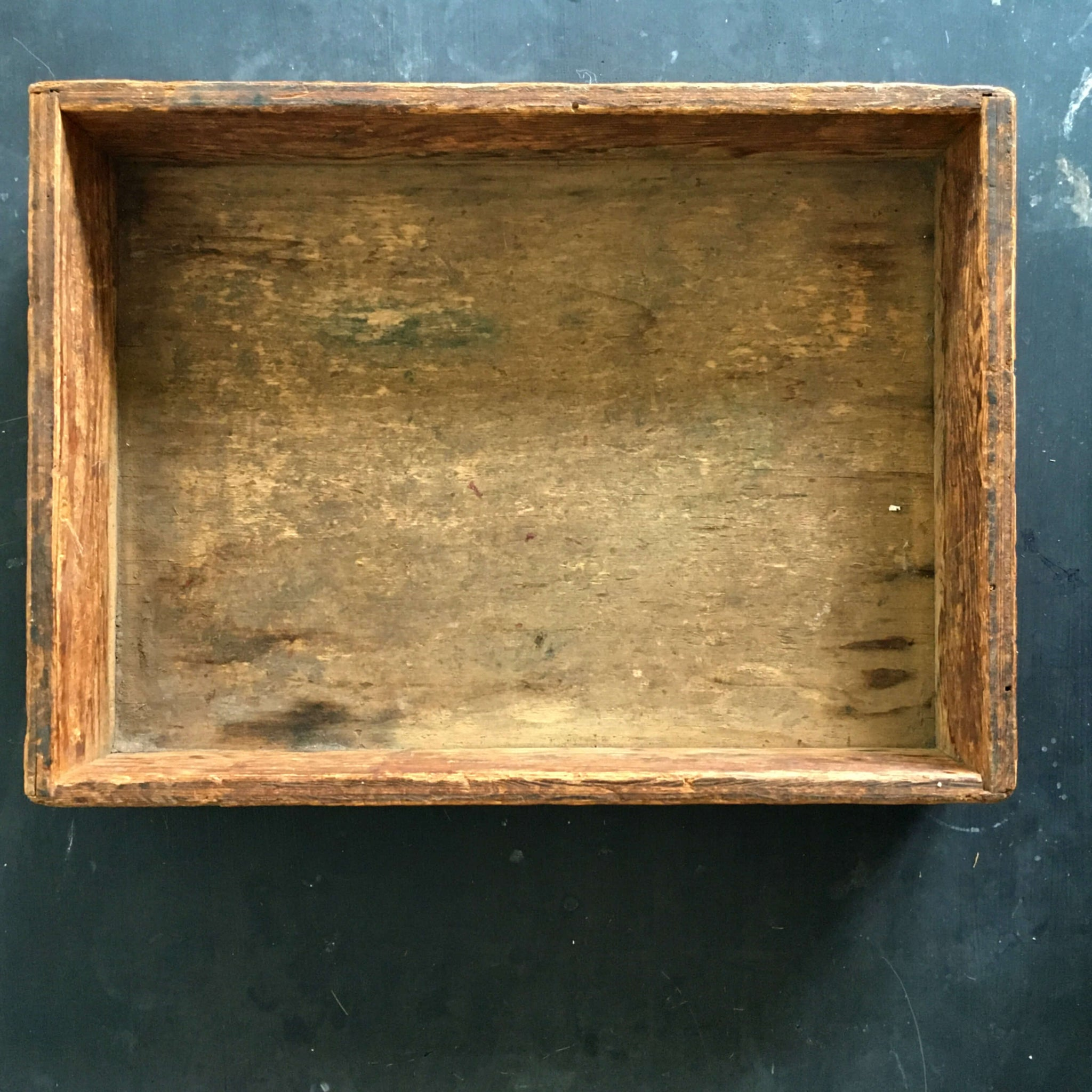 Antique Wood Tray Crate Box - 11x15 Storage Container Circa early 1900's