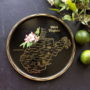 Vintage 1950's  West Virginia Tin Tray - Travel Souvenir - Black and Gold Travel Collectibles