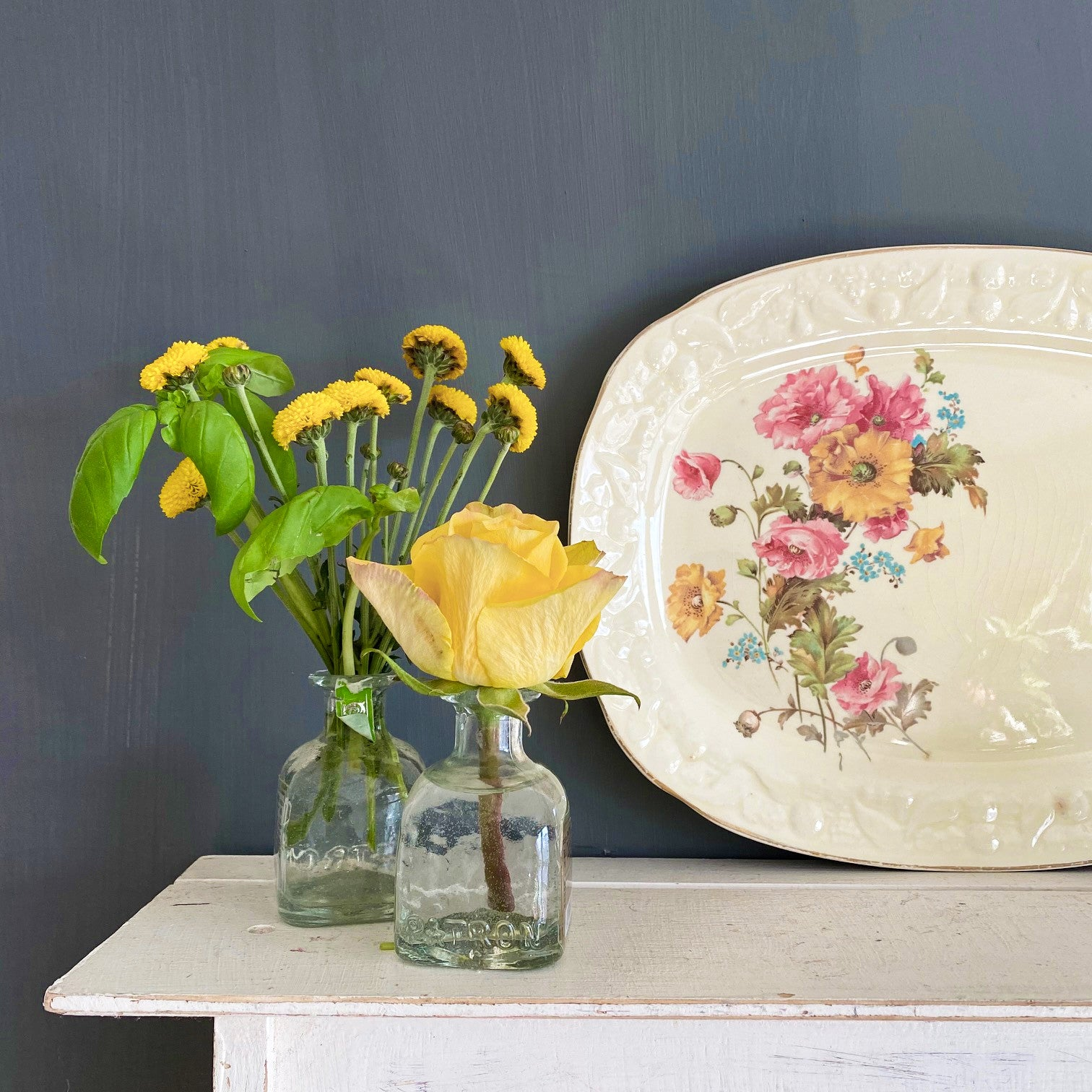 Vintage 1930s Crooksville China Platter - Pink & Yellow Florals with Embossed Fruit Rim