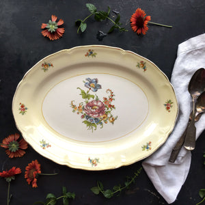 Vintage Yellow and White Floral Platter  -  Colorful Country Cottage Decor