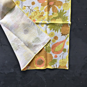 Vintage Yellow Linen Napkins - Fruit & Flowers Pattern - Set of Two