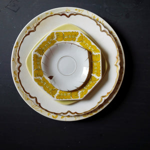 The Champagne Collection - Golden Yellow Mismatched China Plate Set - Five Pieces