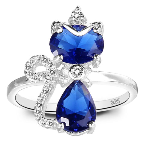 Blue Sterling Cat Ring - Cat Fantasy World