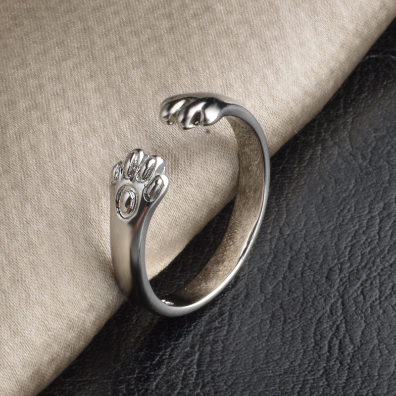 Cute Adjustable Silver Plated Cat Claw Ring - Cat Fantasy World