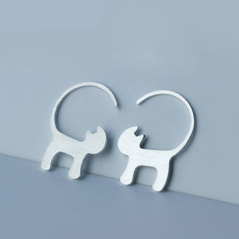 Silver Stud Earrings - Cat Fantasy World