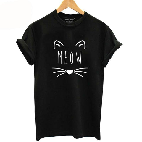 Meow Print Cat T-Shirt - Cat Fantasy World
