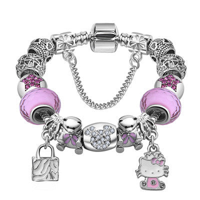 Sophisticated Silver Cat Charm Bracelet - Cat Fantasy World