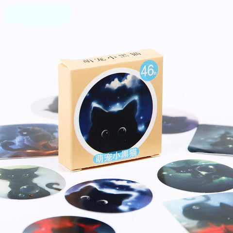 Black Cat Diary Stickers (92 Pieces) - Cat Fantasy World