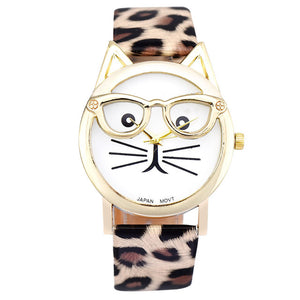 Cute Cat Glasses Leather Watch - Cat Fantasy World