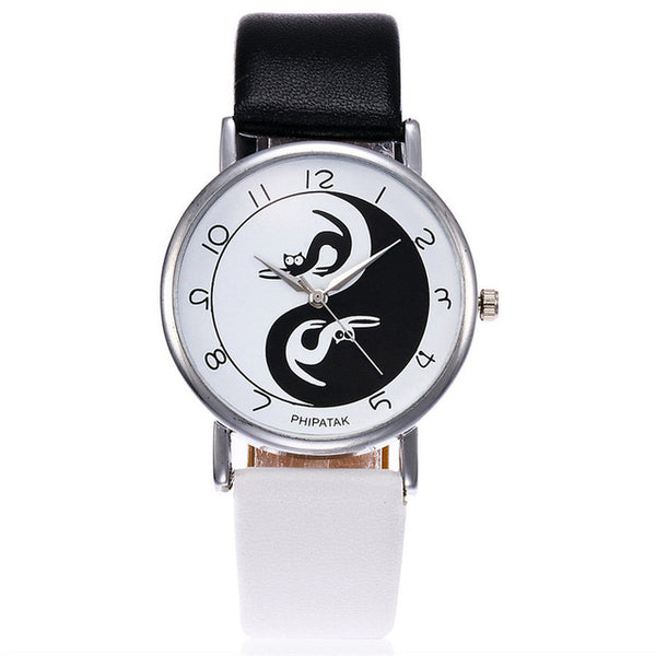 Fashionable High Quality Tai Chi Leather Cat Quartz Watch - Cat Fantasy World